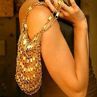 Zipper bag, 'Golden Treasure' - Recycled Aluminum Shoulder Bag