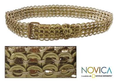 Soda pop-top belt, 'Bronze Chain Mail' - Unique Recycled aluminium Belt