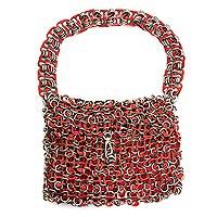 Soda pop-top bag, 'Mini-Shimmery Red' - Soda pop-top bag