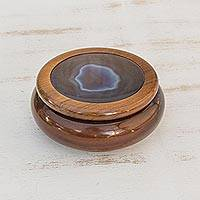 Blue agate and cedar jewelry box, 'Ocean Amazon' - Calm Agate Decorative jewellery Box in Cedar