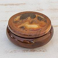 Brown agate and cedar jewelry box, 'Earth Amazon' - Brown Agate and Wood Trinket Jewelry Box