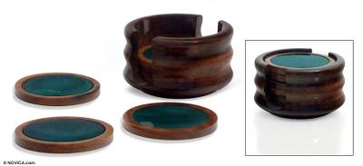 Green agate and cedar coasters, 'Rainforest' (set of 6) - Hand Made Brazilian Agate Stone Coasters (Set of 6)