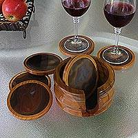 Gray agate and cedar coasters, 'Burning Mist' (set of 6) - Fair Trade Agate and Cedar Wood Coasters (Set of 6)