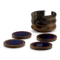 Purple agate and cedar coasters, 'Violet Moons' (set of 6)