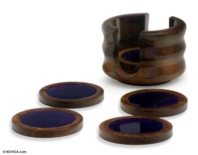 Purple Agate and Cedar Coasters (Set of 6)