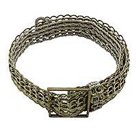 Soda pop-top belt, 'Bronze Armor Chain Mail' - Soda pop-top belt