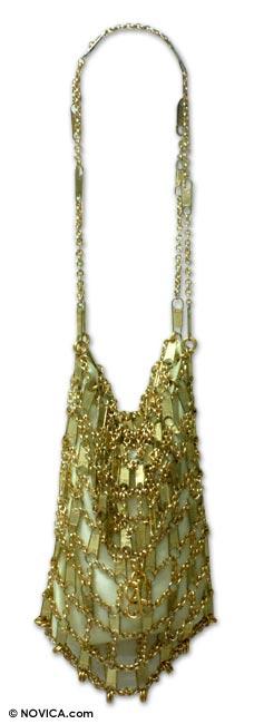 Zipper shoulder bag, 'Conscience' - Zipper shoulder bag