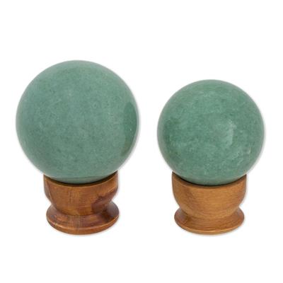 Green quartz balls, 'Happy Hope' (pair) - Green quartz balls (Pair)