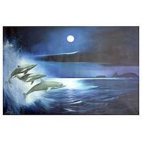 'Dolphins' - Landscape Surrealist Painting