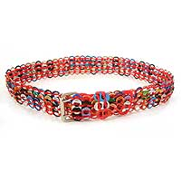 Soda pop-top belt, 'Multicolor Armor Chain Mail in Red' - Artisan Crafted Multicolor Soda Pop Top Belt Red