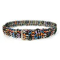 Soda pop-top belt, 'Multicolor Armor Chain Mail in Black' - Recycled Pop Top Belt