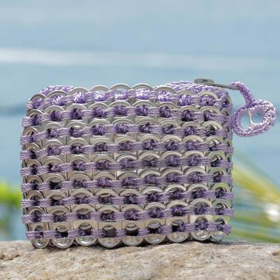 Soda pop-top coin purse, Lilac Style