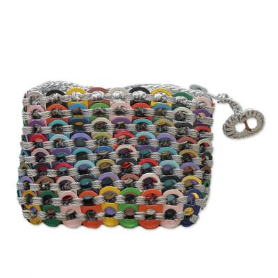 Soda pop-top coin purse, 'Colorful Style' - Recycled Pop Top Coin Purse from Brazil