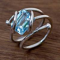 Blue topaz wrap ring, 'Sky Force' - Handcrafted Modern Sterling Silver Wrap Blue Topaz Ring