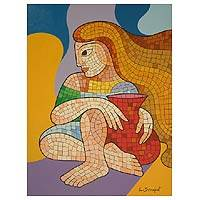 'Woman with Jar' - Original Modern Painting