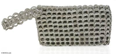 Soda pop-top wristlet bag, 'Silver Hope and Change' - Handmade Recycled Aluminum Wristlet