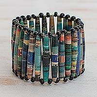 Recycled paper bracelet, 'The News is Blue' - Hand Made Recycled Paper Stretch Bracelet