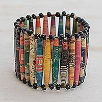 Recycled paper bracelet, 'Novelty'