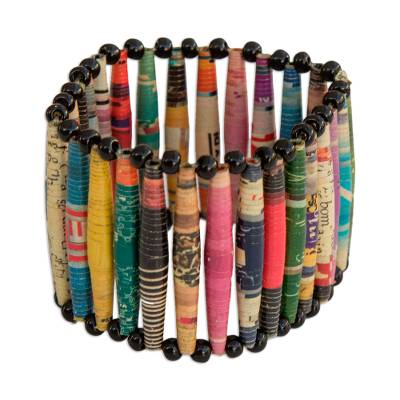 Recycled paper bracelet, 'Novelty' - Handcrafted Recycled Paper Wristband Bracelet