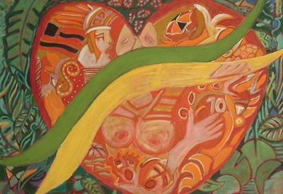 'Brazilian Heart' - Surrealist Painting from Brazil