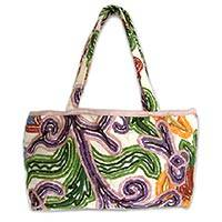 Cotton handbag, 'Exotic Tropic' - Cotton handbag