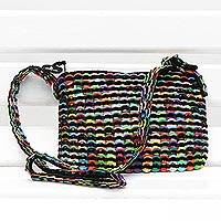 Soda pop-top cosmetics shoulder bag, 'Chic Colors' - Crochet Soda Poptop Cosmetic Bag