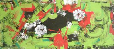 'Abstracting with Flowers' - Abstract Floral Painting from Brazil