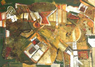 'Abstracting the Colors Ochre and Orange' - Abstract Acrylic Painting with Sand on Canvas