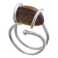 Tiger's eye cocktail ring, 'Golden Path' - Tiger's Eye and Sterling Silver Cocktail Ring