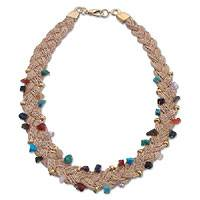 Gold and palm necklace, 'Bright Rainbow Gems' - Gold and palm necklace