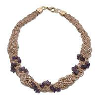 Gold and palm necklace, 'Amethyst Cascade' - Gold and palm necklace