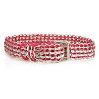 Soda pop-top belt, 'Fuchsia Chain Mail' - Soda pop-top belt