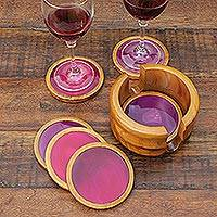 Cedar and agate coasters, 'Deep Rose' (set of 6) - Handcarved Rose Agate Coasters (Set of 6)