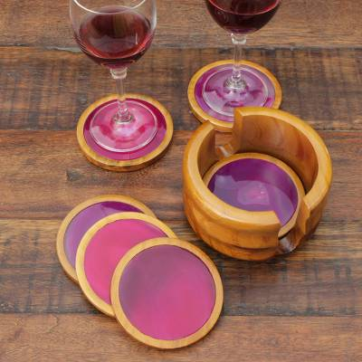Cedar and agate coasters, 'Deep Rose' (set of 6) - Handcrafted Calming Stone Coasters from Brazil (Set of 6)