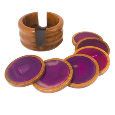 Handcrafted Calming Stone Coasters from Brazil (Set of 6)