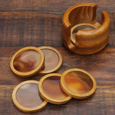 Agate and cedar coasters, 'Mystery' (set of 6) - Agate and cedar coasters (Set of 6)