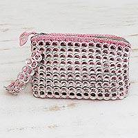 Soda pop-top wristlet bag, 'Rosy Spark' - Soda pop-top wristlet bag