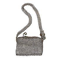 Soda pop-top cosmetics shoulder bag, 'Chic Brown' - Soda pop-top cosmetics shoulder bag