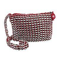 Soda pop-top cosmetics shoulder bag, 'Chic Red' - Soda pop-top cosmetics shoulder bag