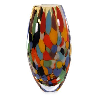 Unique Murano Inspired Glass Vase Carnival Confetti Novica