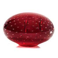 Handblown art glass paperweight, 'Vermilion Horizon' - Murano Inspired handblown paperweight