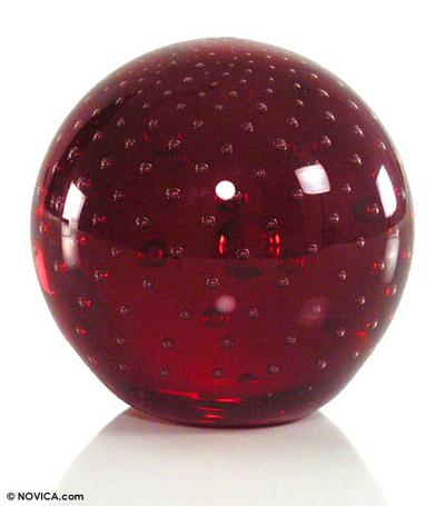 Handblown art glass paperweight, 'Vermilion Sphere' - Handblown Murano Inspired Glass Sculpture