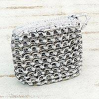 Soda pop-top coin purse, 'White Style' - Recycled Aluminum Coin Purse