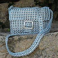 Soda pop-top shoulder bag, 'Silver Blue Success' - Handcrafted Recycled Aluminum Flap Handbag