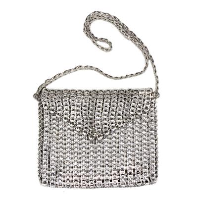 Soda pop-top shoulder bag, 'Tall Silver Eco-Charm' - Soda pop-top shoulder bag