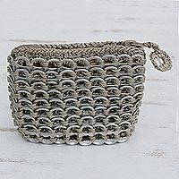 Soda pop-top coin purse, 'Beige Style' - Soda pop-top coin purse