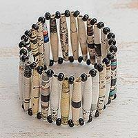 Recycled paper bracelet, 'The News is White' - Eco-Friendly Upcycled Paper Stretch Bracelet