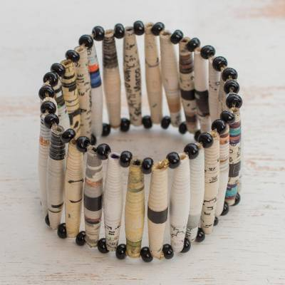 Recycled paper bracelet, 'The News is White' - Recycled Paper Wristband Bracelet