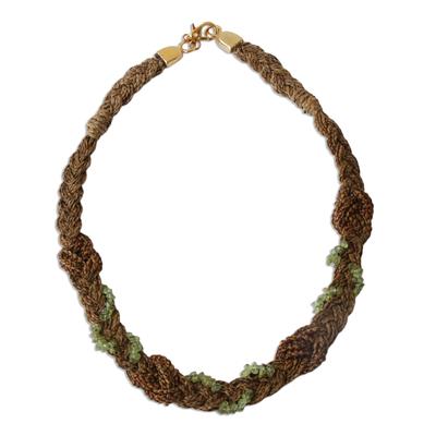 Unique Brazilian Palm and Peridot Necklace