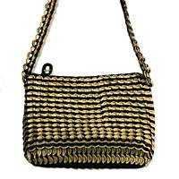 Soda pop-top cosmetics shoulder bag, 'Chic in Antique Gold' - Soda pop-top cosmetics shoulder bag
